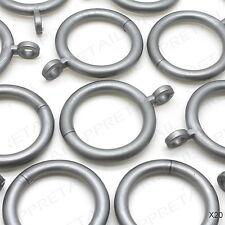 """Pack Of 20 GREY CURTAIN RINGS Silver/Hook/Hoop/Loop ★FITS STANDARD 25mm/1"""" POLE★"""