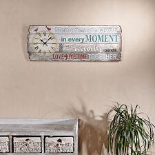 Vintage Wandbild 80x30CM mit Uhr used look Holz Dekouhr Holzbild Querformat