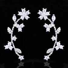 womens Gold Plated Silver leaf Triangle flower ear cuff Rhinestone stud Earrings