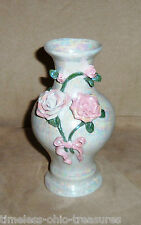"""vase pearlized porcelain applied pink roses green leaves 3 1/2"""" W x  6 3/4"""" T"""