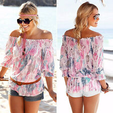 Womens Boho Off The Shoulder T-shirt Summer Beach 3/4 Sleeve Blouse Floral Tops