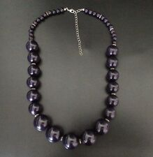 "Gorgeous Vintage Graduated Deep Purple JADE GEMSTONE Bead Necklace 23+4"" UKSELL'"