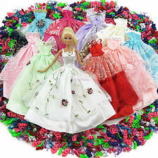 Lot 15 Items = Random 5 Dresses + 10 Shoes Wedding Party Clothes For Barbie Doll
