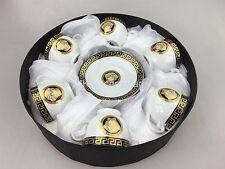 Coffee Espresso Cups & Saucer Set of 12 Pieces Black & Gold Ornament