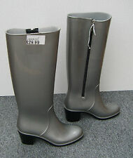 NEW Silver / Grey High Heel Wellies Wellingtons with Zip Fastening Size 4