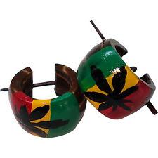 Rasta Cannabis Leaf Wood Hoop Stick Huggie Stud Earrings Mens Womens Jewellery