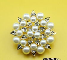 Gold Plated Crystal and Cream Faux Pearl Leaf Brooch
