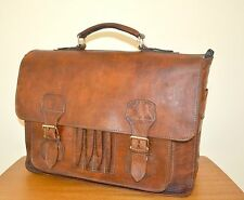 Classic Vintage Walnut Brown Distressed Leather Briefcase Laptop Work Grab Bag