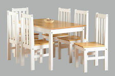 LUDLOW Solid OAK Dining Table And 6 Chairs Set in White Wood Finish NEW