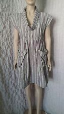 The Masai Clothing creasy multicoloured striped dress with deep cowl neck size M
