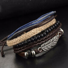 Men's Leather Alloy Multilayered Woven Wooden Bead Wax Rope Bracelet Wristband