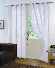 Pair of White 59'' x 72'' Voile Net Eyelet / Ring Top Curtain Panel + Tie Back