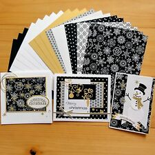 """""""SNOW NIGHT"""" CHRISTMAS BLACK GOLD CARD & PAPER PACK DIY CARDMAKING 20 SHTS A5"""