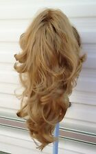 dark blonde wavy curly claw clip in long pony tail hair extension piece