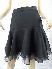 DKNY black layered tulle 100% silk A-line skirt size 4-6 EUC