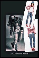 "NEW LEVI'S BOLD CURVE stretch Low STRAIGHT JEANS woman size W27 L34  uk 8 34""leg"