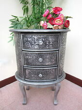 BLACK/SILVER  EMBOSSED 3 DRAWER CHEST DRAWERS BEDSIDE CABINET LAMP TABLE  SILVER