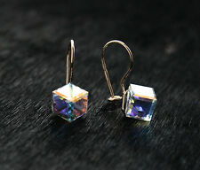 585/14ct Russian Rose Gold Swarovski Elements Cube 6mm Hook Earrings Gift Boxed