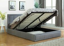 Modern Fabric Queen Size Gas Lift Storage Bed - Grey
