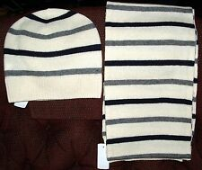 NWT Brooks Brothers Cream  Men's Wool Scarf and Matching Beanie