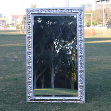 Wooden Europe Palace style Embossed Wall Mirror with silver frame