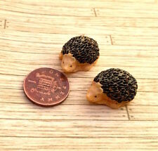 Pair of Cute Little Hedgehogs, Miniature Garden Accessory, Doll House 1.12th
