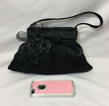 Ladies 50s Vintage Small Black Satin Tulle Floral Evening Bag Handbag