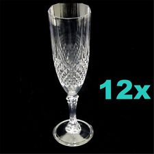 12  Clear Plastic Disposable Champagne Flutes Wine Drink Glasses