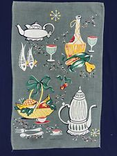 Vintage Retro PURE LINEN Tea Towel 1960s Midcentury STILL LIFE Kitchen Souvenir