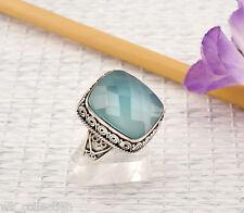Chalcedon Ring Sterlingsilber/925 Blau Briolett Ethno Grösse 59 (18,8mm Ø) NEU