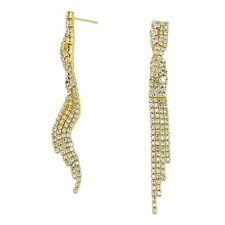 Long dangly gold tone diamante earrings sparkly party bridal prom drop  0381