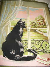 Vintage completed needlepoint tapestry picture cat in window