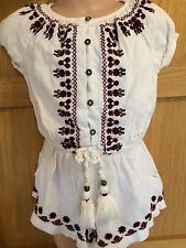NEXT, age 3, VGC, cream playsuit with plum embroidery
