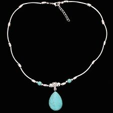 women Jewelry Tibetan Silver Green Oval Turquoise Bead Pendant Chain Necklace