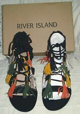RIVER ISLAND LEATHER BLACK (SUEDE) LACE  UP SANDALS GOLD HEEL / TASSELS S 8 - 41