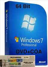 Windows 7 Pro Professional CoA License Key + OEM installation DVD 64-bit SP1