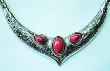 Silver Tone Collar Style Necklace with 3 Dark Red Stones  20""