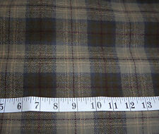 "Green Camel Blue 100% Wool Check Dress Fabric 60"" Wide by the Metre"