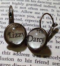 UNIQUE VINTAGE AUSTEN MR DARCY LIZZY BOOK QUOTE EARRINGS