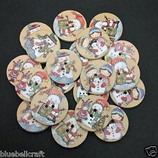 30 25mm WOODEN MIXED SNOWMAN BUTTONS - XMAS - CRAFT - SCRAPBOOK - SEW - CARDS