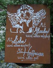 Edelrost Tafel Hoffnung Spruch Garten Metall Tafel Rost Schild Engel Motiv Bild
