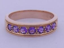 R077 Genuine 9ct Solid Rose GOLD NATURAL Amethyst Eternity Wedding Band size M