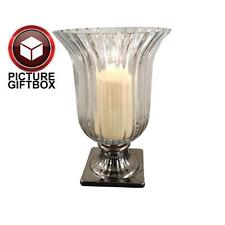 LARGE GLASS HURRICANE FLARED LAMP CANDLE HOLDER WITH SILVER  BASE H 25 cm