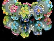 Murano Glas Beads Blumen/ European Beads Charms /925er Silber Fassung NEU