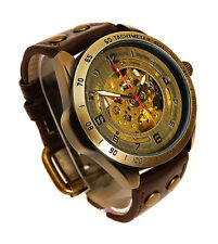 45mm BRONZE AUTOMATIC Skeleton TACHYMETER SCALE Vintage Style Wrist Watch Brass