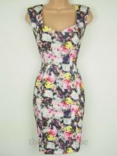 BNWT Coleen Rooney Size 12 Floral Print Stretch Bodycon pencil wiggle Dress