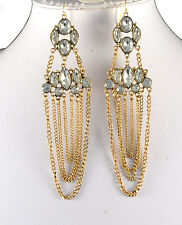 """4.5"""" GOLD TONE  MULTI-DROP CHAIN AND CLEAR FACETED CRYSTAL EARRINGS"""