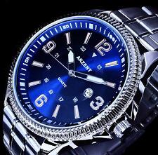 Akzent Uhr Herrenuhr Armbanduhr Blau Silber Farben Datum Metall