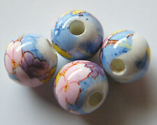30pcs 10mm Round Porcelain/Ceramic Beads - White / Pink Flowers on Blue