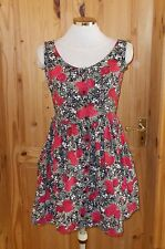 black red beige green floral roses mini sun tea dress summer holiday 8-10